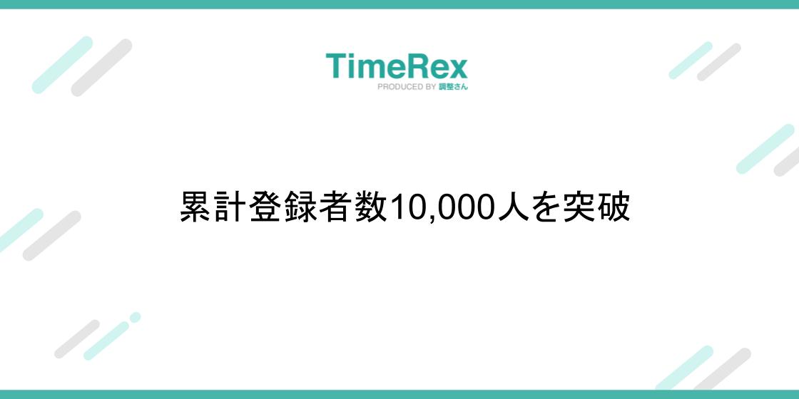 TimeRex登録者数1万人突破